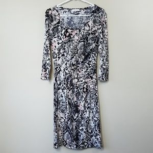Calvin Klein Side Gathered Abstract Print Dress